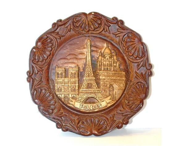 Vintage Wall Plate Paris Eiffel Tower Souvenir Faux Wood