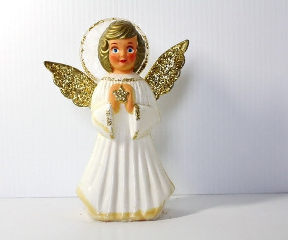 Vintage Angel Christmas Tree Topper Decoration Ornament 1950s