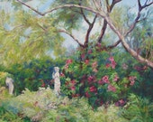 Reserved for matt1007 Garden at Huntington Library  Original oil painting