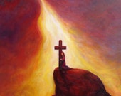 Original Oil Painting Cross, Woman kneeling,Sunset Fire, Shirin Mackeson