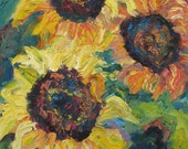 Original Oil Painting Triptych, Sunflowers, Impasto Yellow, green,blue by Shirin Mackeson