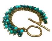 TURQUOISE CHACHA BRACELET-Natural Beauty, Boho Chic, Turquoise and Australian Jasper Cha Cha Bracelet, Jewelry, Cluster Bracelet