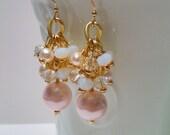 Pink Pearl Earrings, Dangle Earrings, Earrings, Gift for Her