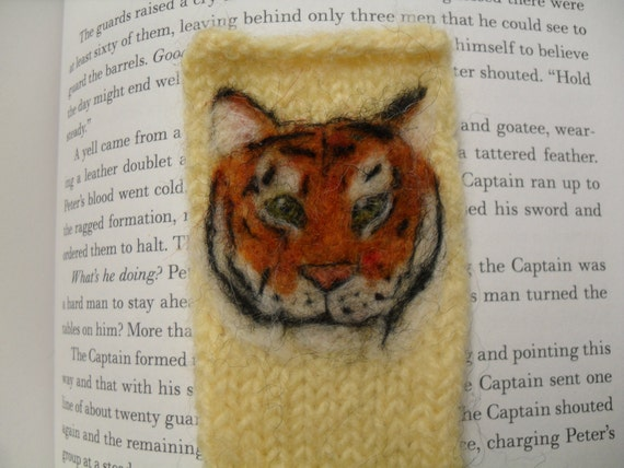 Knit and needle felted tiger bookmark