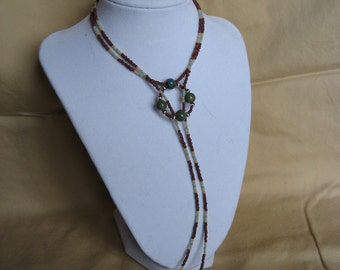 Earth Tone Lariat Necklace and Earring set