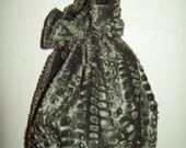 Faux Fur Green Crocodile looking Drawstring Bag or Purse Very Soft Lined Great for Makeup or just around the town Ready to Ship