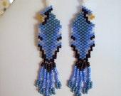 Native American Design Beaded Blue Jay Wild Life Bird Earrings Southwestern, Boho, Hippie