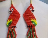 Beautiful Native Hand Beaded Red Yellow and Green Macaw Parrot Earrings Southwestern, Boho, Hippie Parrot Lover Earrings Great Gift