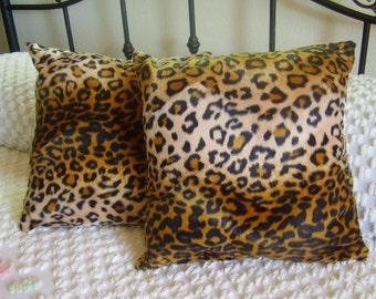 Faux Fur Handmade Gold Leopard Print Pillows Set of TWO 15 X 15 Great Decor, Den, Living Room, Bed Room Nice Gift