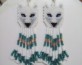 "Native American Style Beaded White and Grey Wolf Earrings ""Teal and Copper"" Southwestern, Boho, Hippie Brick Stitch, Peyote, Great Gift"