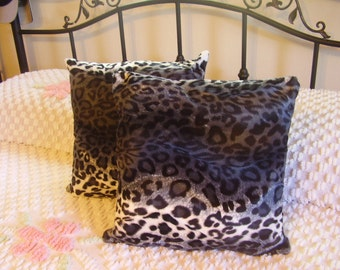Faux Fur Black and Grey Handmade Leopard Print Pillows Set of TWO  15 X 15 Great Decor for any Home Living Room Den Bed Room Great Gift