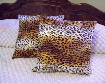 Faux Fur Handmade Jaguar Print Throw Pillows Set of 2-  15 X 15 Very Plush Nice Decor Pillows Living Room, Den, Bed Room Ready to Ship