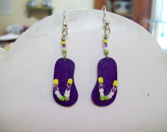 "Beaded Dark Purple Flip Flop Earrings fun in the sun ""So Cute"" Native, Southwestern, Hippie, Boho, Great Gift, Good Summer Wear, Ready Ship"