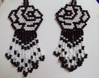 Native American Style Beaded Black and White Rose Pierced Earrings Southwestern, Peyote, Brick Stitch, Gyspy, Fringe, Handmade, Great Gift