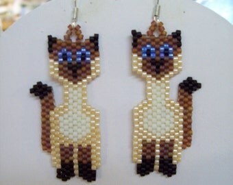 Native Beaded Style Siamese Cat Earrings Boho, Southwestern, Brick Stitch, Loom, Gypsy, Peyote, Animal Lover Earrings Great Gift Very