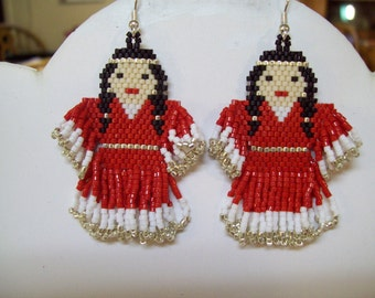 Native Amerian Style Beaded Indian Doll Earrings in Red and White Southwestern, Brick Stitch, Peyote, Gypsy, Boho, Hippie, Great Gift