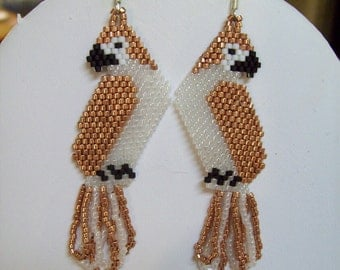 Beautiful Native American Style Beaded Copper and Frost Formal Parrot Earrings Southwestern, Boho, Hippie, Brick Stitch Gypsy Great Gift
