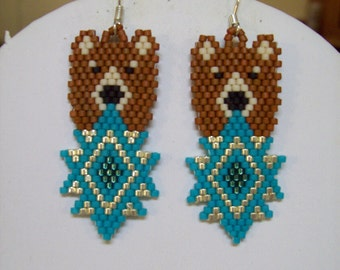 "Native American Style Beaded Bear and Turquoise Earrings ""Beautiful"" Southwestern, Boho, Hippie, Brick Stitch, Peyote, Loom, Great Gift"
