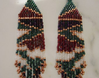 Native American Style Beaded Camo Earrings Garnet, Emerald, Diamond and Copper Southwestern, Boho, Brick Stitch, Peyote Great Gift