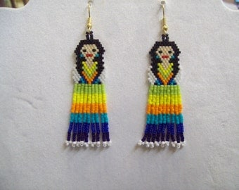 Mexican Fiesta Doll Beaded Earrings Green, Yellow, Turquoise, Blue Southwestern, Boho, Hippie, Peyote, Brick Stitch, Great Gift