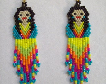 Mexican Fiesta Doll Turquoise Shirt Beaded Earrings Southwestern, Boho, Hippie, Brick Stitch, Peyote Gypsy Great Gift