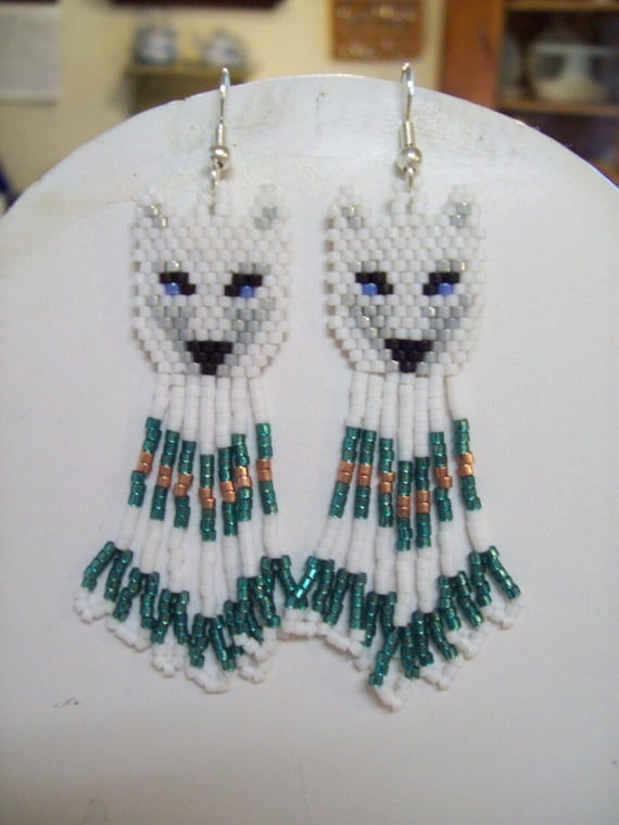 """Native American Style Beaded White and Grey Wolf Earrings """"Teal and Copper"""" Southwestern, Boho, Hippie Brick Stitch, Peyote, Great Gift"""