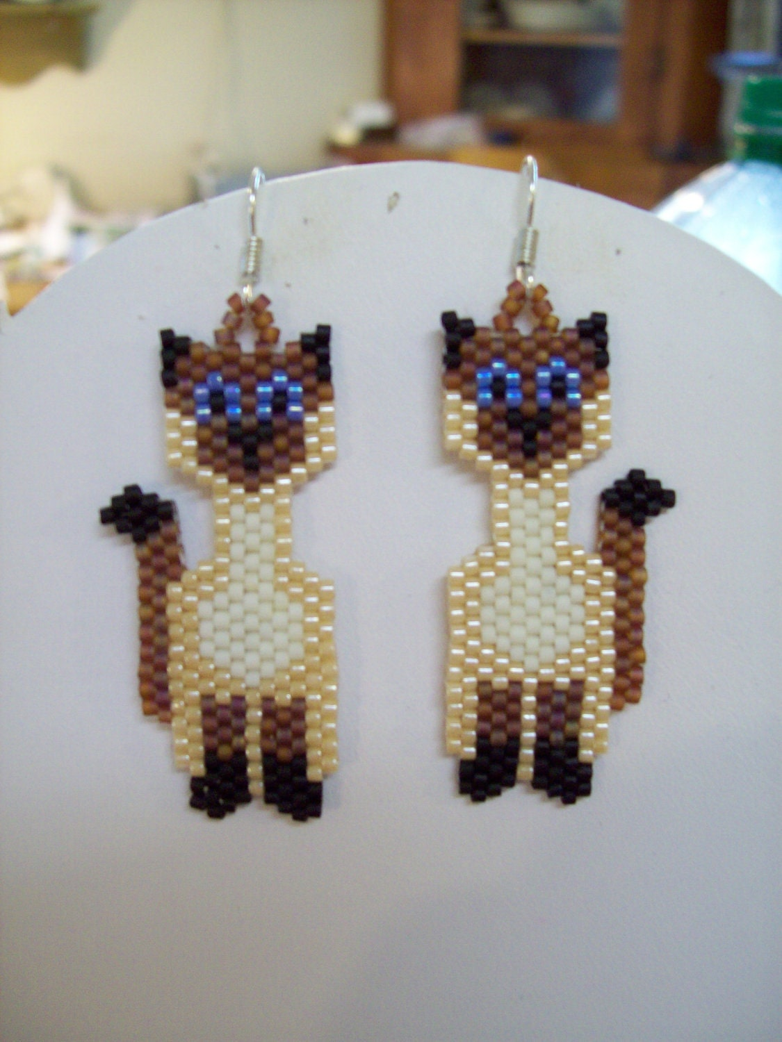 Native Beaded Style Siamese Cat Earrings Boho Southwestern