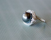 Pewter Grey Glass Pearl Bead Birds Nest Ring One of a Kind Size 6.25