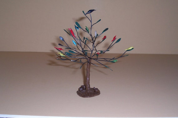 OOAK Nice Miniature Dollhouse Or Fairy Tree With Birds And Leaves By O'Dare