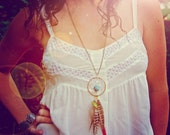 Turquoise Dreamcatcher Feather Necklace