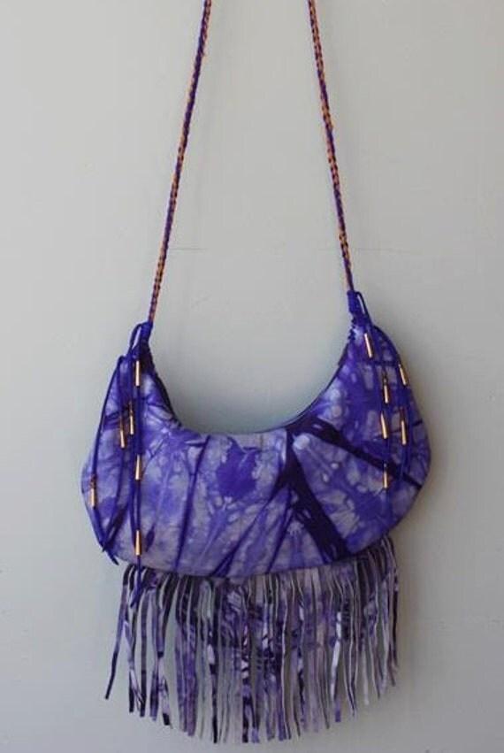Purple Tie-Dye Leather Fringe Hand bag Purse