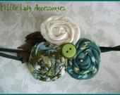 Fabric Rosette Headband in Teal, Polka Dot, and Ivory - Photo Prop - Baby headband -