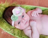 Newborn Baby Headband - Vintage Style - Baby Pink, Ivory and Sage Green - Photo Prop
