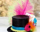 Mad Hatter Mini Top Hat in NEON colors- Alice in Wonderland - Tea Party - Costume Birthday Photo Prop
