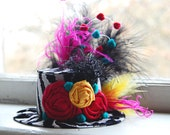 Mini Top Hat in bright zebra colors- Alice in Wonderland - Tea Party - Pageant - Birthday Photo Prop