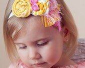 Rosette Headband in Pink and Yellow- Fabulous Photo Prop - Birthday - Baby Headband - Couture