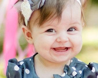 Pink, Ivory, and Soft Gray Rosette Headband - Photo Prop - Newborn