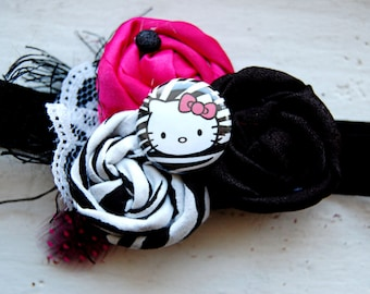 Kitty Baby Headband -Zebra Print Black Hot Pink-  Photo Prop - Newborn Headband