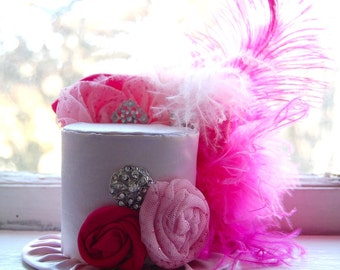 Mini Top Hat  Alice in Wonderland  Inspired - Baby Pink and Hot Pink Ostrich Feathers  - Birthday Hat Photography Prop