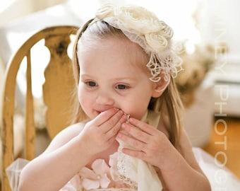 Ivory Rosette Headband - Photo Prop - Baby Headband - Flower Girl Headband