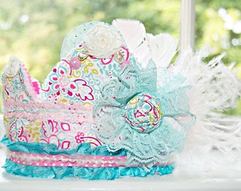 Birthday Crown - Party Hat - Photo Prop - Pink Turquoise Crown - Princess Dress Up - Birthday Hat