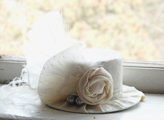 Mini Top Hat  Alice in Wonderland  Inspired in Ivory - Bridal - Flower Girl - Photo Prop   Birthday Hat