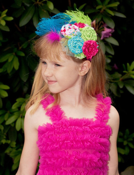 Summer Rosette Headband - Hot Pink, Teal, and Lime Green - Rosette and Satin Flower Headband - Baby Girl - Photo Prop