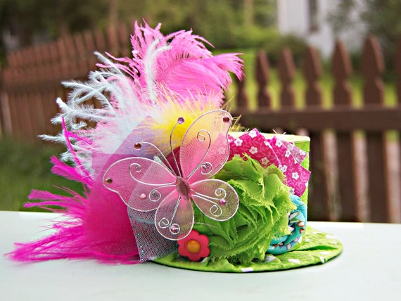 Mini Top Hat  Alice in Wonderland  - Photo Prop - Birthday Top Hat - Summer Hat