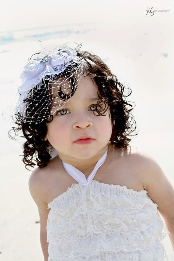 Couture Rosette Headband -White - Photo Prop - Bridal - Baby Headband - Couture