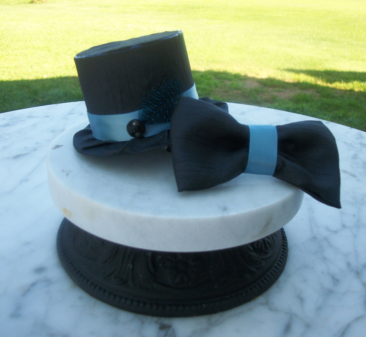 Black Mini Top Hat For Boys And Bow Tie Set Photo Prop Ring