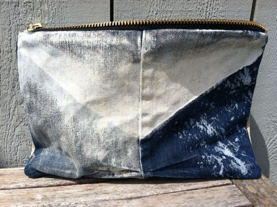 WC Recycled Dipped Denim & Leather clutch/ makeup/ travel bag