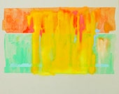 """Modern abstract watercolor and pastel painting, yellow, mint, and coral, 11""""x14"""""""