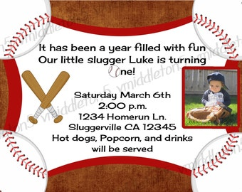 Boys Baseball Birthday Invitation with Photo Option Print Your Own 4x6 or 5x7