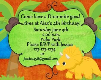Dinosaur Birthday Party Invitation Print Your Own 4x6 or 5x7